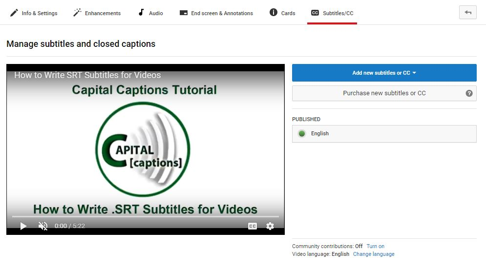 How To Add Subtitles Or Closed Captions To Youtube Videos